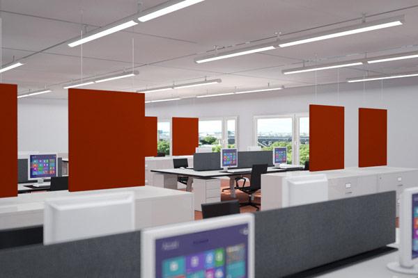 panneaux acoustique suspendu bureaux implanteo